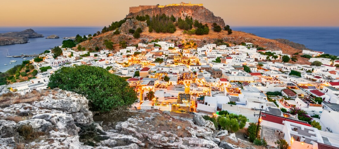 Lindos Small Whitewashed Village And The Acropolis, Rhodes, Gree